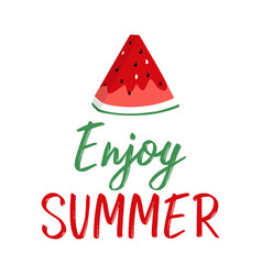 summer greeting card with slice of watermelon and vector image