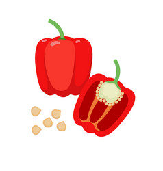 sweet pepper flat whole and vector image