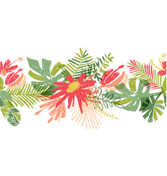 tropical flower hand drawn header or border vector image