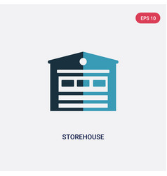 Two color storehouse icon from real estate vector