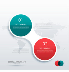 two steps option infographic template in circle vector image