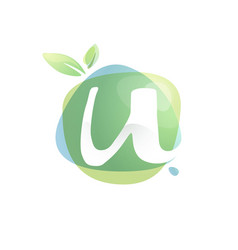 U letter logo with negative space at green vector