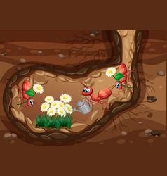 Underground scene with ants planting flowers vector