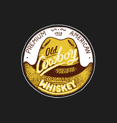 Vintage whiskey label badge with vineyard alcohol vector