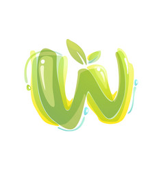 w letter eco logo formed watercolor splashes vector image