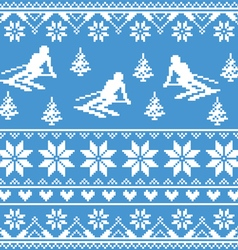Winter knit pattern - man skiing on blue vector