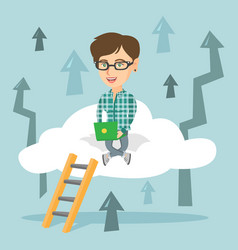 Young business woman sitting on cloud with laptop vector