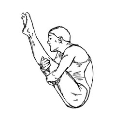 Diving jumping sport vector