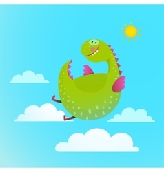 Dragon flying in sky colorful cartoon for kids vector image vector image