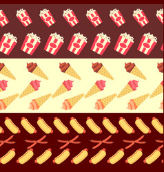 fast food seamless borders collection - ice cream vector image