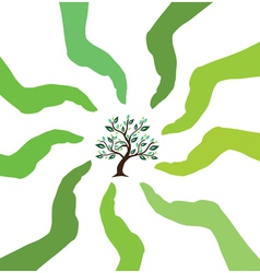 hands caring tree vector image vector image