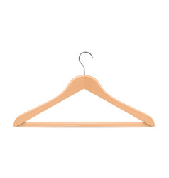 realistic clothes coat wooden hanger close vector image