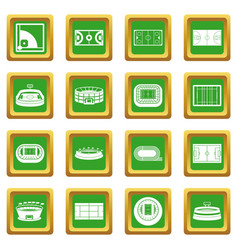 sport stadium icons set green vector image vector image
