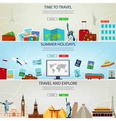 Three Travel and Tourism Headers Banners Summer vector image