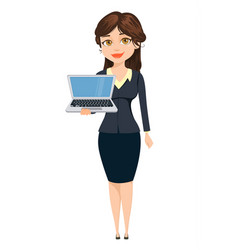 businesswoman standing with laptop cute cartoon vector image vector image