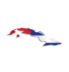 cuba flag map vector image vector image