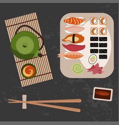 delicious sushi rolls and tee vector image