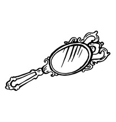 painted silver mirror with an engraving vector image vector image