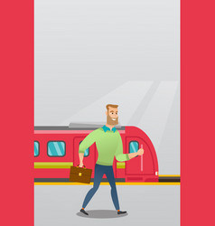 young man walking on a railway station platform vector image vector image