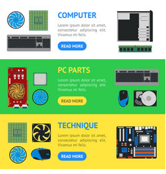 cartoon pc components banner horizontal set vector image