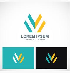 letter m line company logo vector image