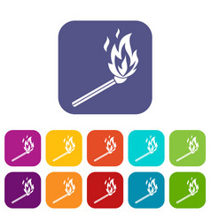 match flame icons set vector image