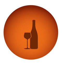 orange color circular frame with silhouette wine vector image