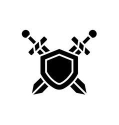 swords protection icon black vector image