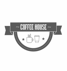 gray coffee logo template with stylized cup and vector image