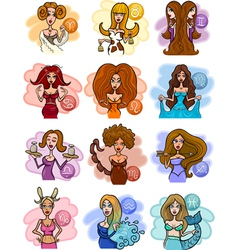 horoscope zodiac signs with women vector image vector image