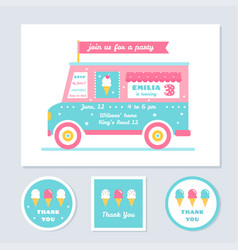 icecream truck kids party invitation and vector image vector image