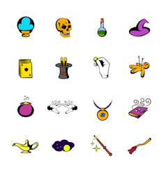 magic comics icons set cartoon vector image