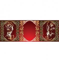 trio red background golden cupids vector image