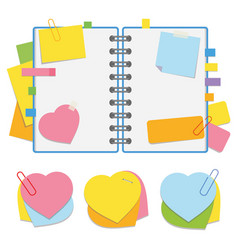 a colored open notepad on the spring with clean vector image