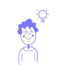a thinking guy an idea a light bulb flat style vector image