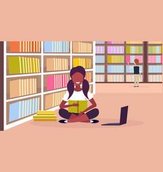 African american girl student sitting lotus pose vector