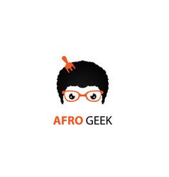 Afro geek logo fork vector