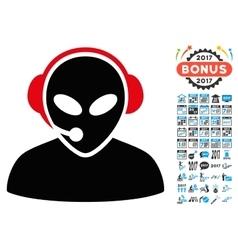 Alien Call Center Icon with 2017 Year Bonus vector