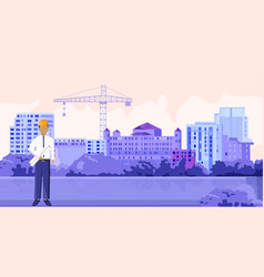 architect sitting in front buildings and crane vector image