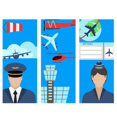 Aviation brochure set airline station airport vector
