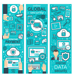 Banners of global online security vector