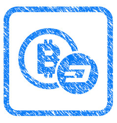 bitcoin and dash framed stamp vector image
