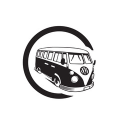 black retro bus isolated on white simple flat vect vector image