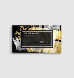 black silver and gold business card template vector image