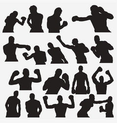 boxing silhouettes 2 vector image