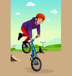 Boy doing a bike stunt vector
