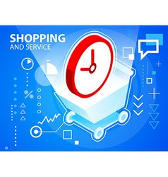 Bright shopping trolley and clock on blue ba vector