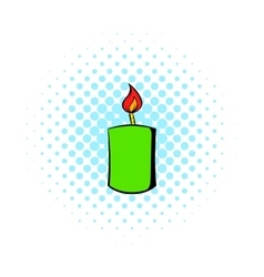Burning candle icon comics style vector image