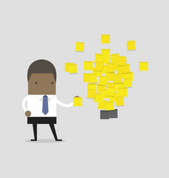 Businessman with a lot stickers with ideas vector