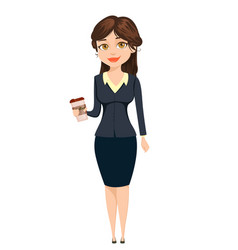 businesswoman standing with coffee cute cartoon vector image